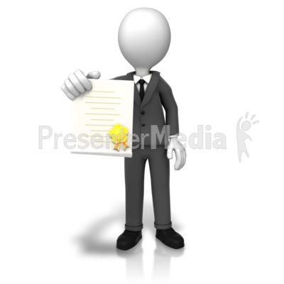 Man With Award Document Presentation clipart