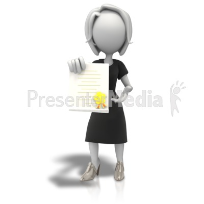 Woman With Award Document Presentation clipart