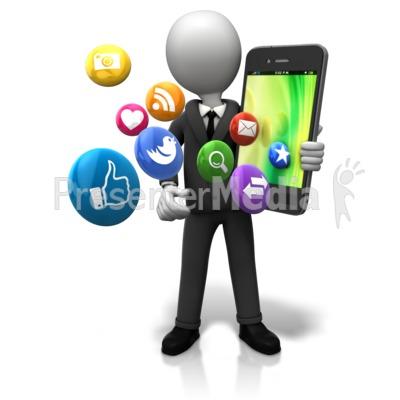 Holding Big Smart Phone Icons Presentation clipart