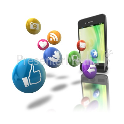 Smart Phone Floating Media Icons Presentation clipart