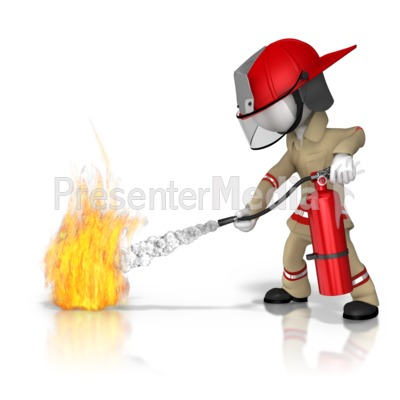Firefighter Fire Extinguish Presentation clipart
