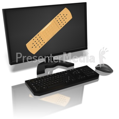 Computer Monitor With Bandaid Presentation clipart