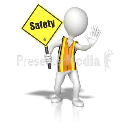 Stick Figure In A Safety Vest Holding A  Presentation clipart