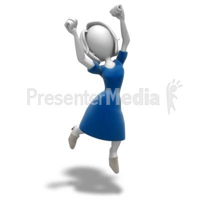 Woman Jumping Celebration Presentation clipart