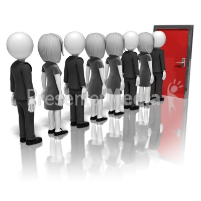 Business People Line-Up For Door Presentation clipart