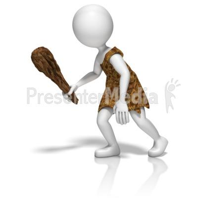 Caveman Stick Figure Presentation clipart