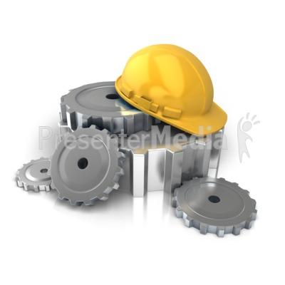 Construction Helmet Gears Presentation clipart