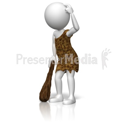 Caveman Figure Thinking Presentation clipart