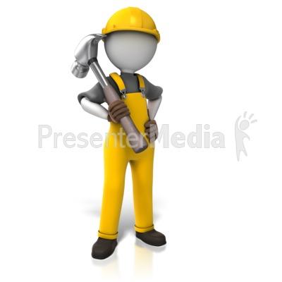 Construction Worker Hammer Presentation clipart