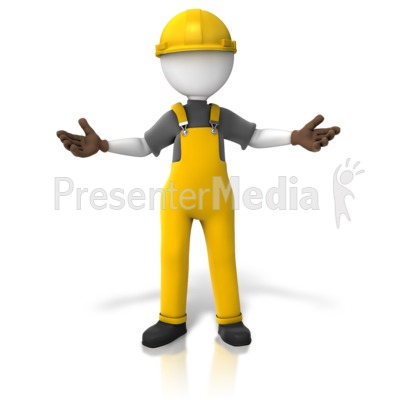 Construction Worker Presenting Two Sides Presentation clipart