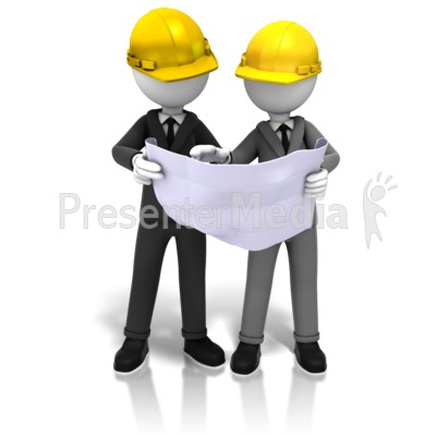 Hardhats And Blueprints Presentation clipart