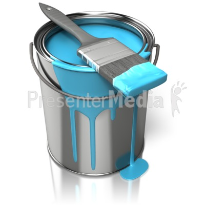 Paint Can With Brush Presentation clipart