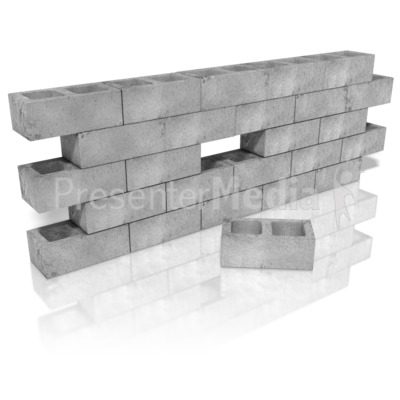 Cinder Block Wall Hole Presentation clipart