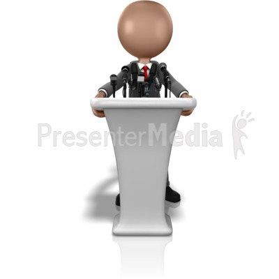 Business Figure Talking Podium Presentation clipart