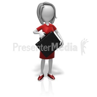 Businesswoman Briefcase Presentation clipart