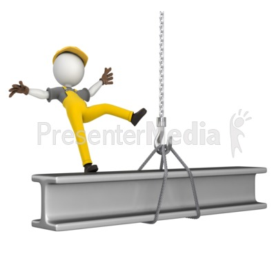Figure Falling Off Beam Presentation clipart