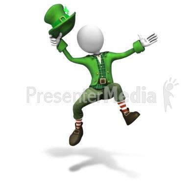 Stick Figure Leprechaun Jumping Presentation clipart