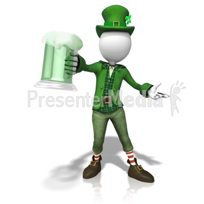 Stick Figure Leprachaun Cheers Presentation clipart