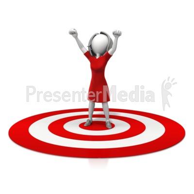 Woman Celebration On Target Presentation clipart