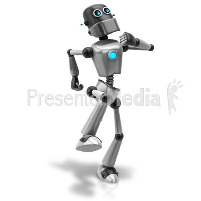 Retro Robot Happy Walk Presentation clipart