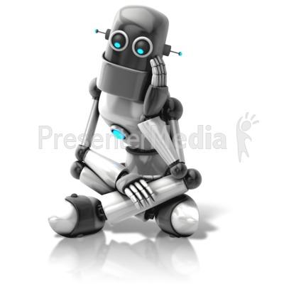 Retro Robot Thinking Presentation clipart