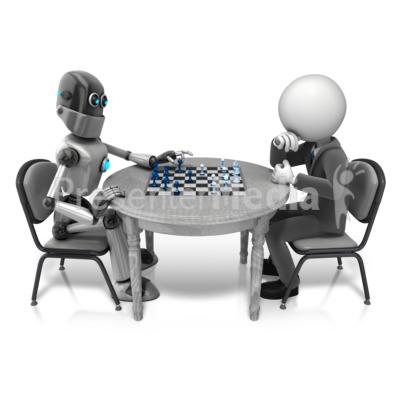 Retro Robot Playing Chess Presentation clipart