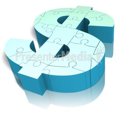 Money Symbol Puzzle Angled Presentation clipart