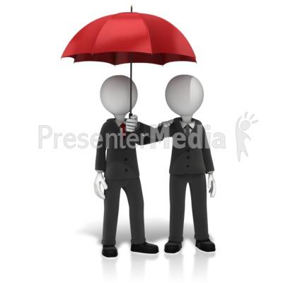 Business Figures Umbrella Presentation clipart