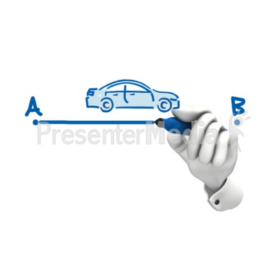 Hand Drawing Car A To B Presentation clipart