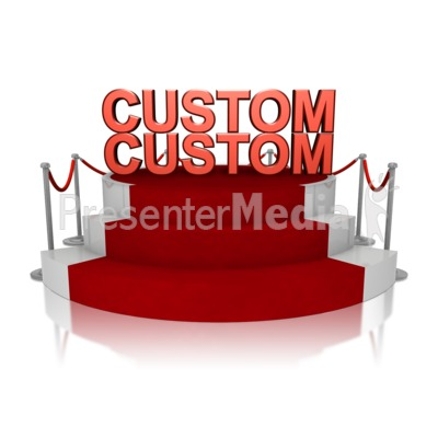 Custom Text On Platform With Red Carpet Presentation clipart