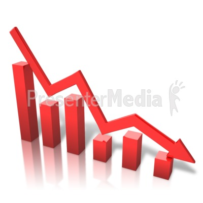 Arrow Graph Decline Presentation clipart