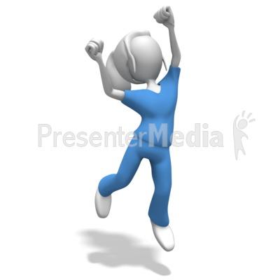 Woman Nurse or Doctor Jumping Celebratio Presentation clipart