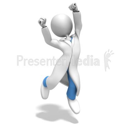 Doctor or Nurse Jumping Celebration Presentation clipart