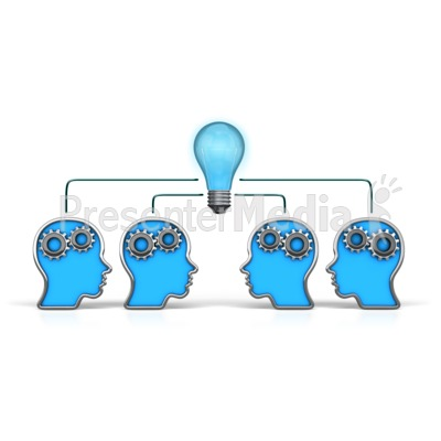 Outline Heads Teamwork Idea Presentation clipart