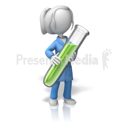 Lady Scientist With Test Tube Presentation clipart