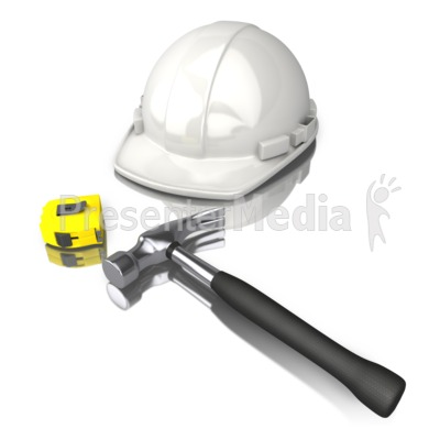 Construction Worker Tools White Hard Hat Presentation clipart