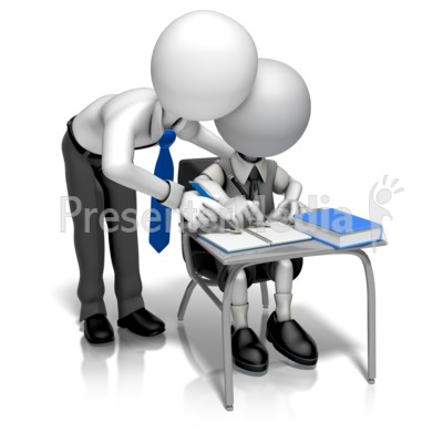 Man Teacher Helping Presentation clipart
