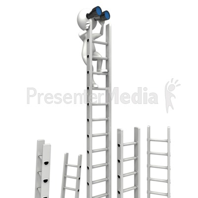Climbing Corporate Ladder With Binocular Presentation clipart