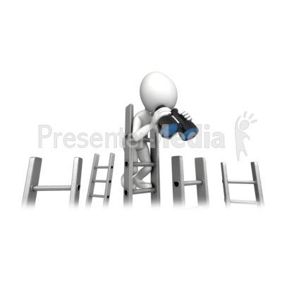 Climbing Corporate Ladder With Binocular Presentation clipart