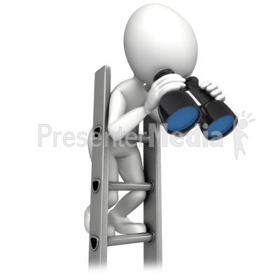 Climbing Corperate Ladder With Binocular Presentation clipart