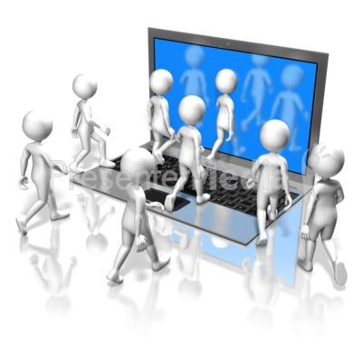 Figures Walk Into Computer Presentation clipart