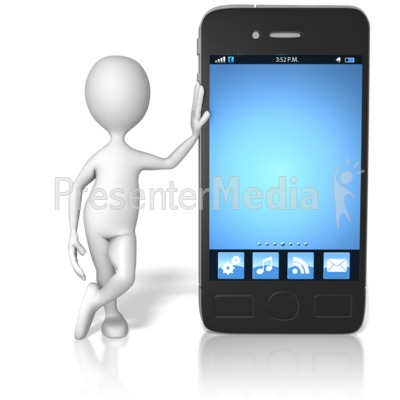 Stick Figure Leaning On Smart Phone PowerPoint Clip Art