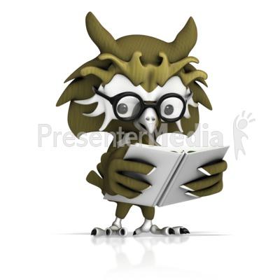 Owl Reading Book Presentation clipart
