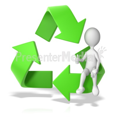 Recycle Symbol with a Stick Figure Presentation clipart
