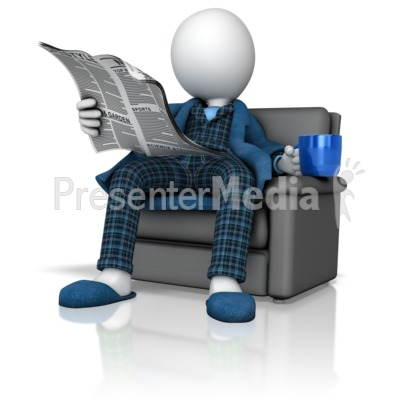 Figure Reading Newspaper in Pajamas  Presentation clipart