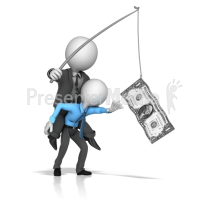 Boss Dangling Money In Front Of Employee Presentation clipart