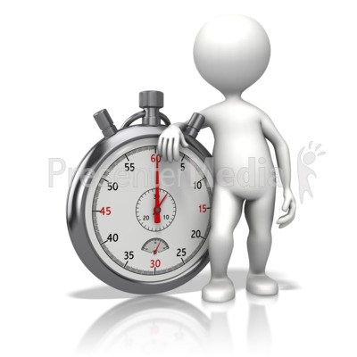 Stick Figure Leaning On Stopwatch PowerPoint Clip Art