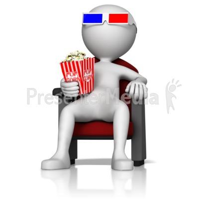Figure at 3D Movie Presentation clipart