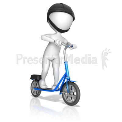 Figure Riding On Standup Scooter Presentation clipart