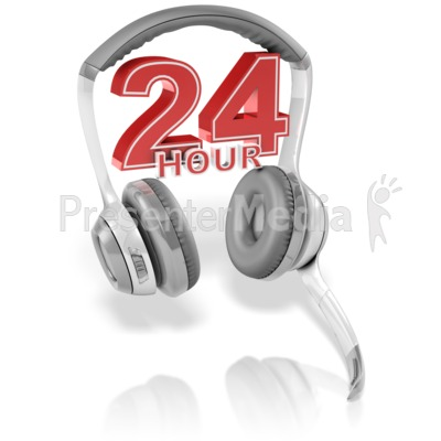 24 Hour Headset Presentation clipart